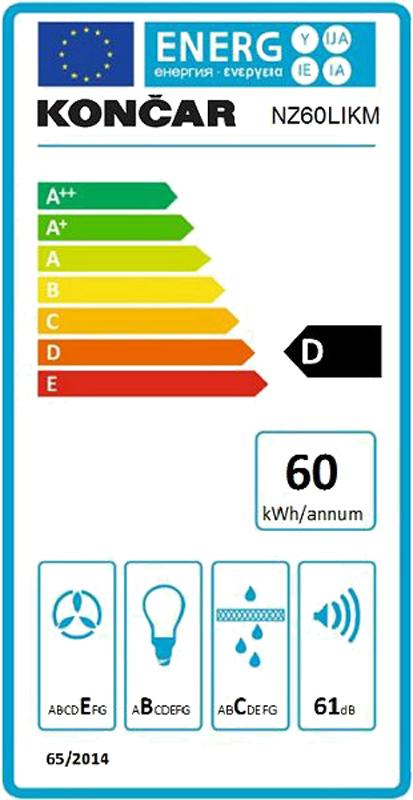 Napa kaminska Končar - NZ60LIKM - energetska naljepnica