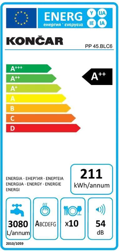 Perilica posuđa PP 45.BLC6 Končar - energetska naljepnica