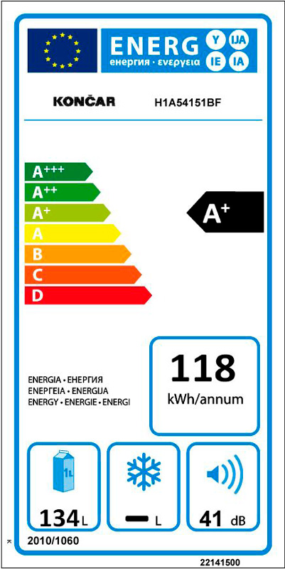 Hladnjak Končar - H1A54151BF energetska
