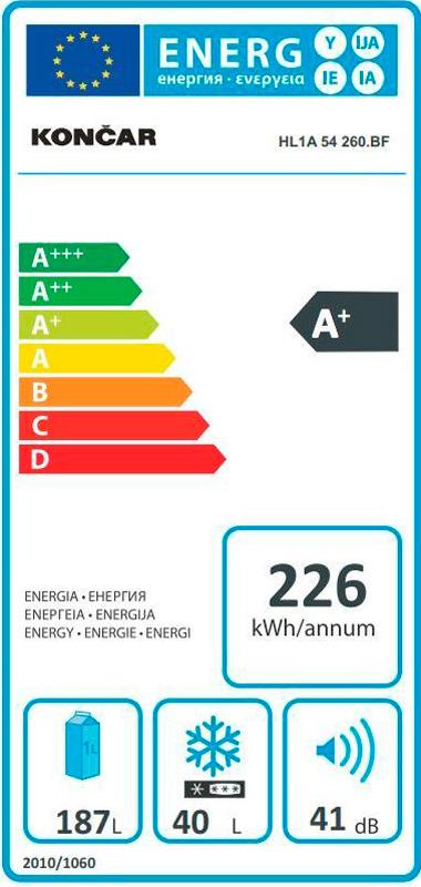 Hladnjak Končar - HL1A54260BF - energetska