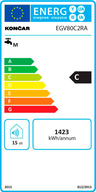 Kupaonski bojler Končar - EGV80C2RA - fruk - energetska naljepnica